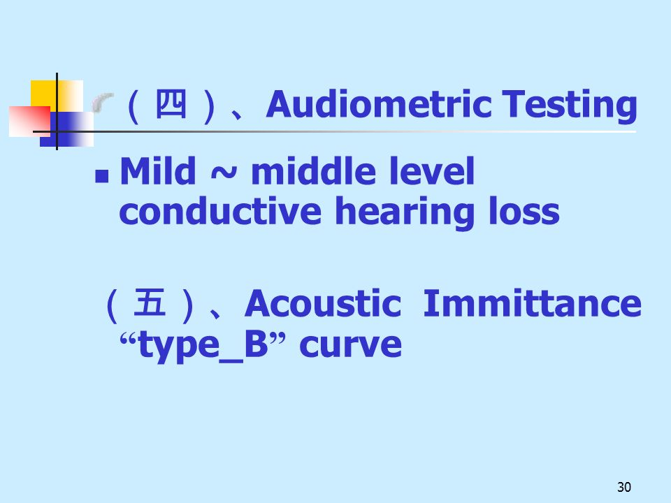 30 Audiometric Testing Mild ~ middle level conductive hearing loss Acoustic Immittance type_B curve
