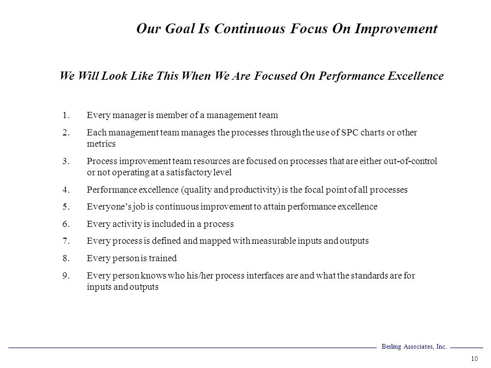Berling Associates, Inc. 10 Our Goal Is Continuous Focus On Improvement 1.Every manager is member of a management team 2.Each management team manages