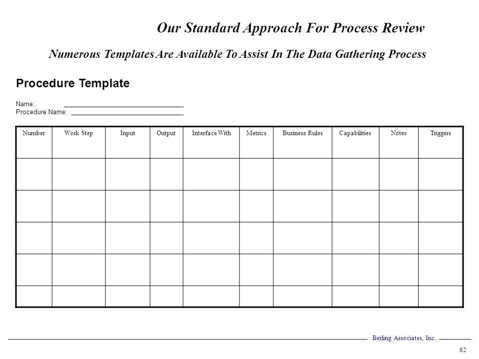 Berling Associates, Inc. 62 Procedure Template Name: Procedure Name: NumberWork StepInputOutputInterface WithMetricsBusiness RulesCapabilitiesNotesTri