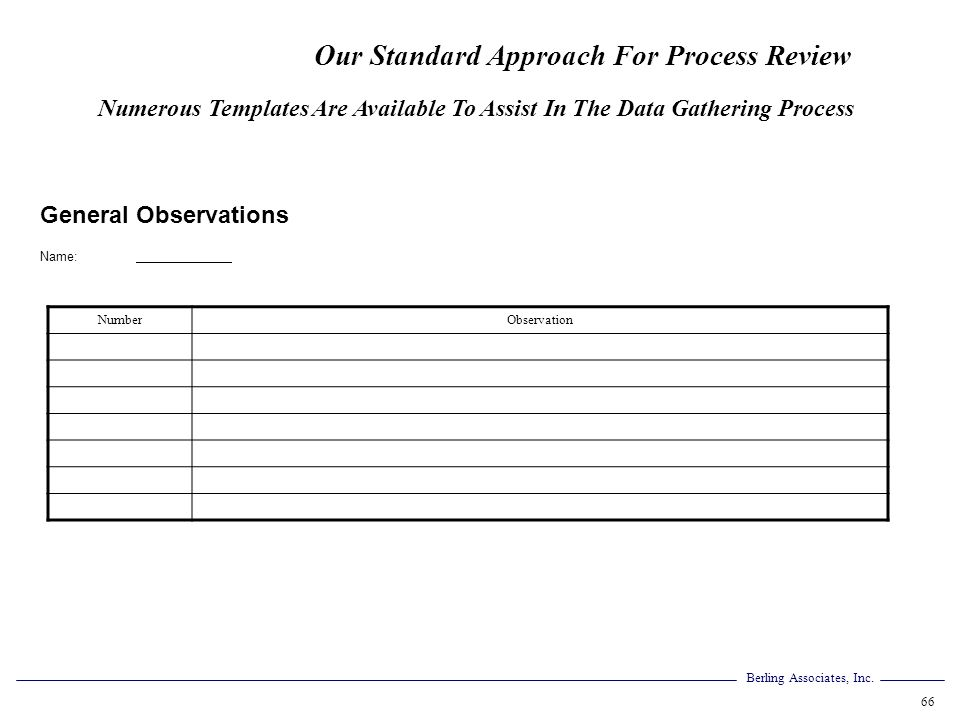 Berling Associates, Inc. 66 General Observations Name: NumberObservation Numerous Templates Are Available To Assist In The Data Gathering Process Our
