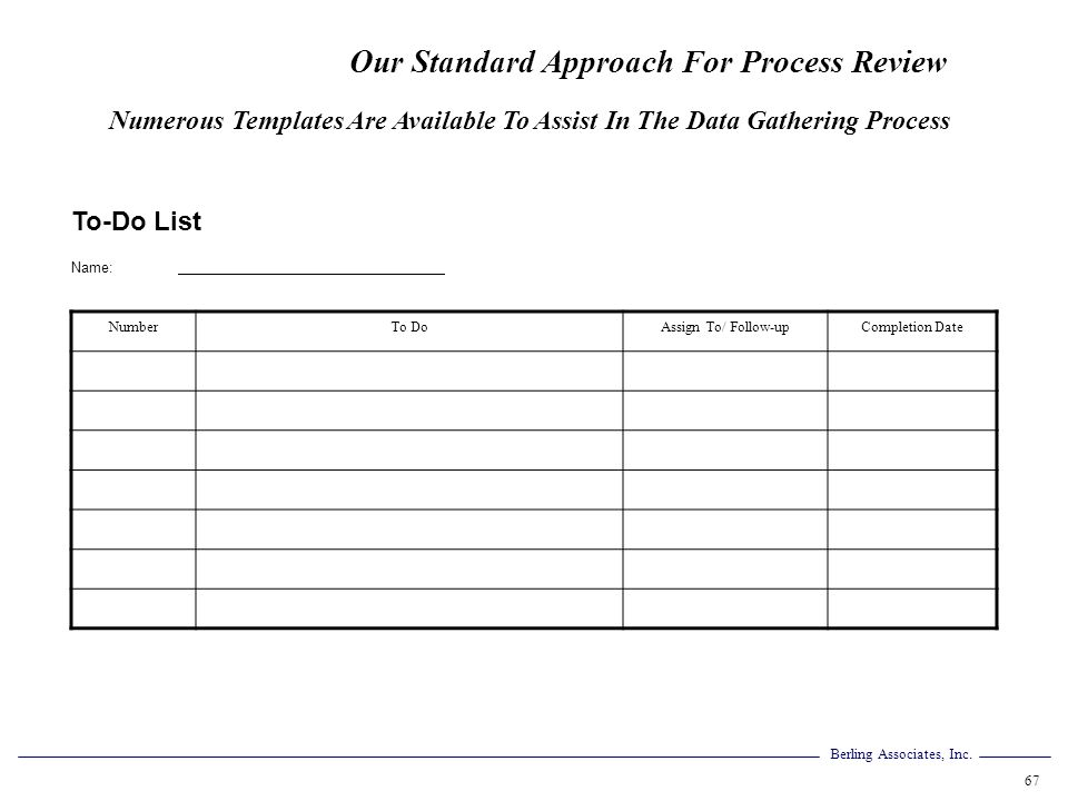 Berling Associates, Inc. 67 To-Do List Name: NumberTo DoAssign To/ Follow-upCompletion Date Numerous Templates Are Available To Assist In The Data Gat