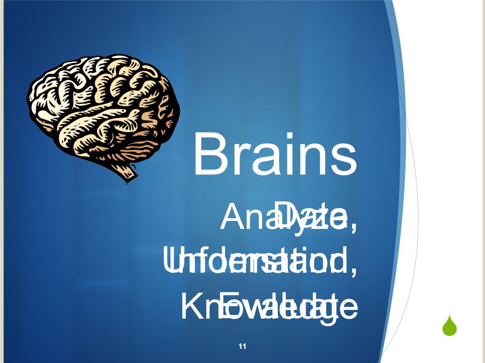 Brains Analyze, Understand, Evaluate 11 Data, Information, Knowledge