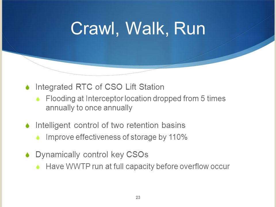 Crawl, Walk, Run Integrated RTC of CSO Lift Station Flooding at Interceptor location dropped from 5 times annually to once annually Intelligent contro
