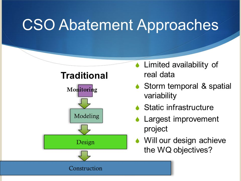 CSO Abatement Approaches 3 Monitoring Traditional Limited availability of real data Storm temporal & spatial variability Static infrastructure Largest