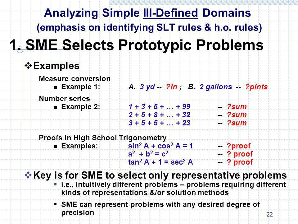22 Analyzing Simple Ill-Defined Domains (emphasis on identifying SLT rules & h.o. rules) 1. SME Selects Prototypic Problems Examples Measure conversio