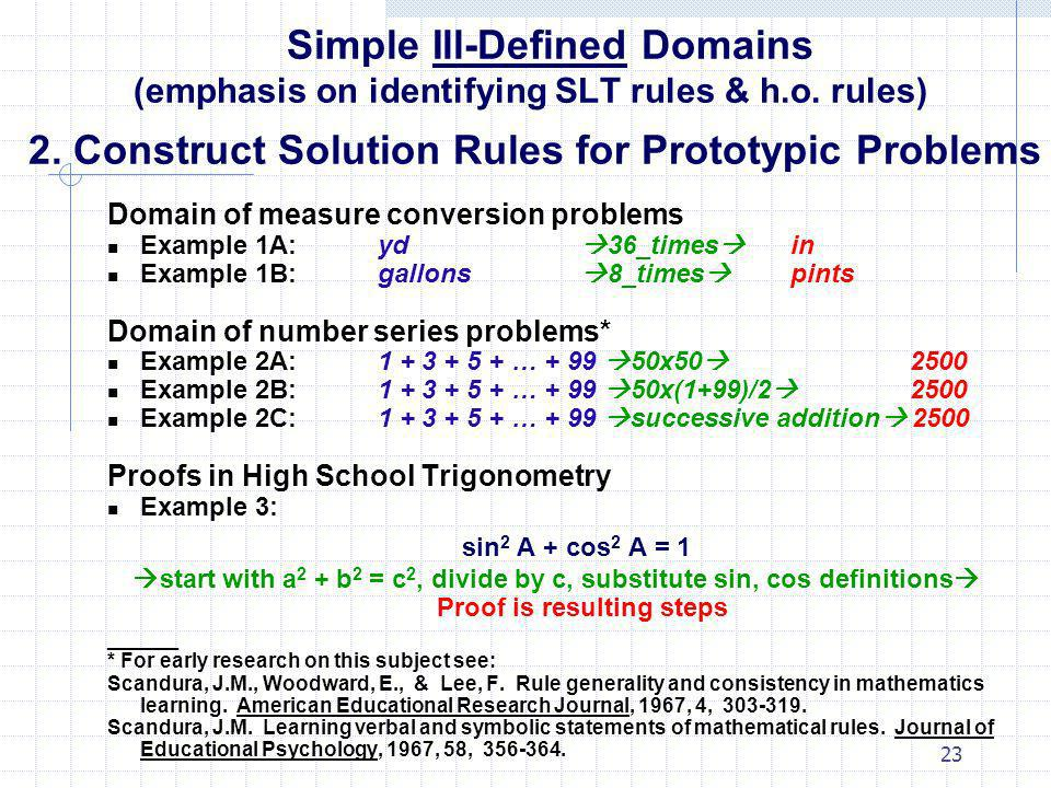 23 Simple Ill-Defined Domains (emphasis on identifying SLT rules & h.o. rules) 2. Construct Solution Rules for Prototypic Problems Domain of measure c