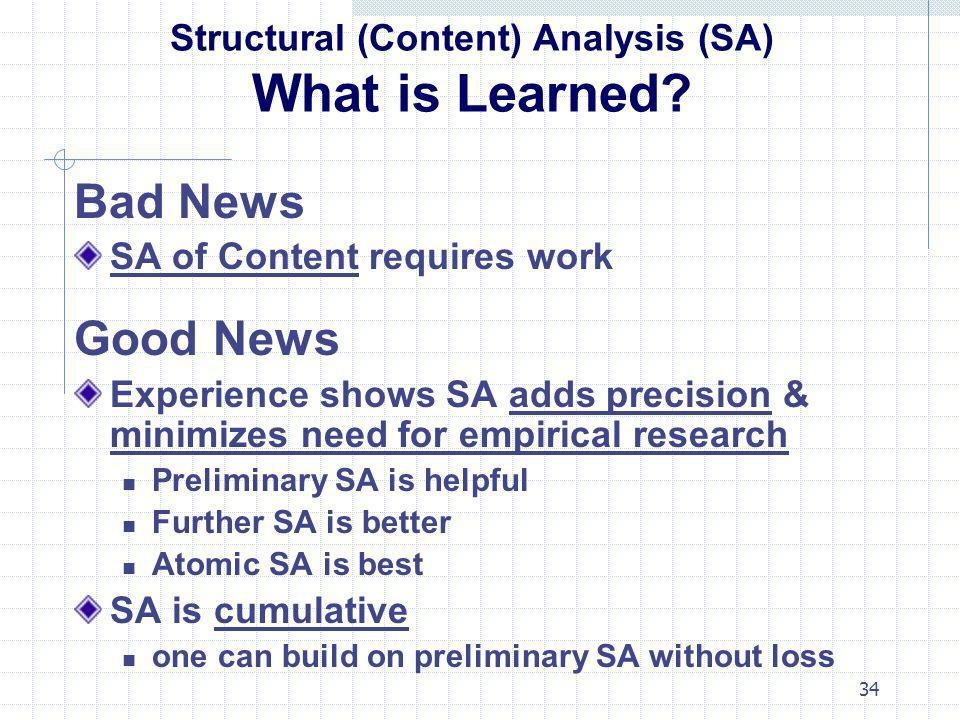 34 Structural (Content) Analysis (SA) What is Learned? Bad News SA of Content requires work Good News Experience shows SA adds precision & minimizes n