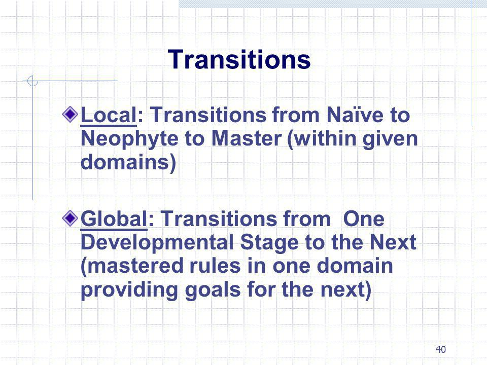 40 Transitions Local: Transitions from Naïve to Neophyte to Master (within given domains) Global: Transitions from One Developmental Stage to the Next