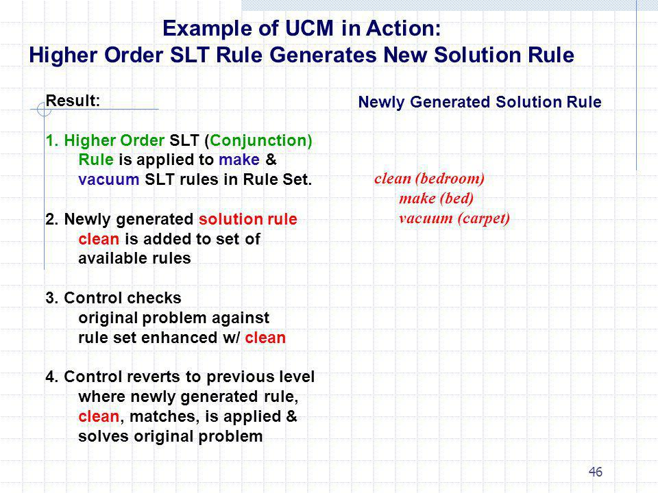 46 Example of UCM in Action: Higher Order SLT Rule Generates New Solution Rule Result: 1. Higher Order SLT (Conjunction) Rule is applied to make & vac