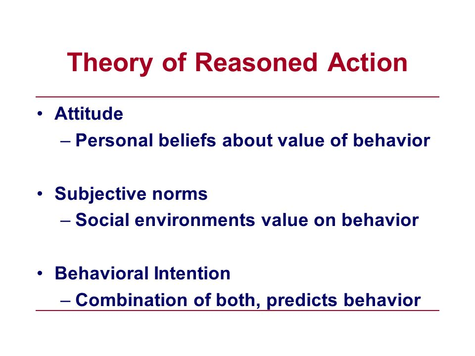 Attitude –Personal beliefs about value of behavior Subjective norms –Social environments value on behavior Behavioral Intention –Combination of both,