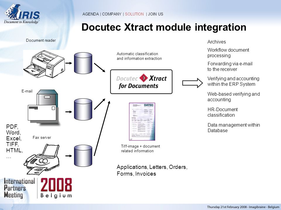 Docutec Xtract module integration Automatic classification and information extraction Workflow document processing Forwarding via e-mail to the receiv