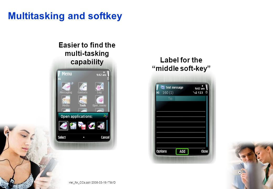 Company Confidential 13 © 2005 Nokia N6220_training_material_for_CCs.ppt / 2008-03-19 / T&VD Multitasking and softkey Easier to find the multi-tasking