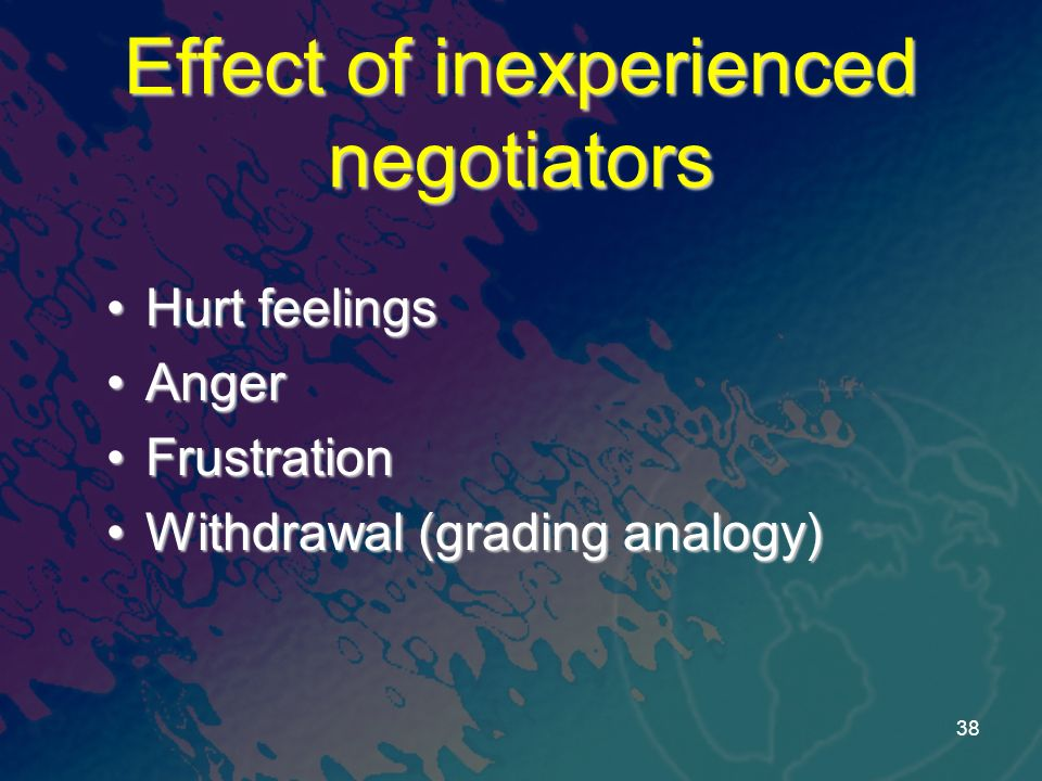 Effect of inexperienced negotiators Hurt feelingsHurt feelings AngerAnger FrustrationFrustration Withdrawal (grading analogy)Withdrawal (grading analogy) 38