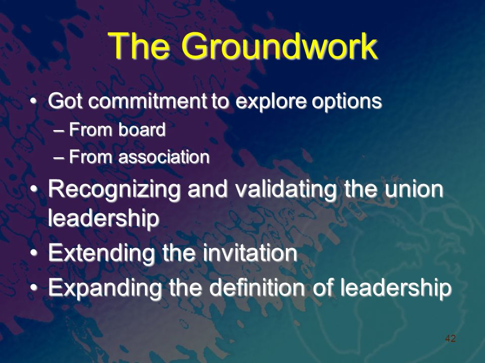The Groundwork Got commitment to explore optionsGot commitment to explore options –From board –From association Recognizing and validating the union leadershipRecognizing and validating the union leadership Extending the invitationExtending the invitation Expanding the definition of leadershipExpanding the definition of leadership 42