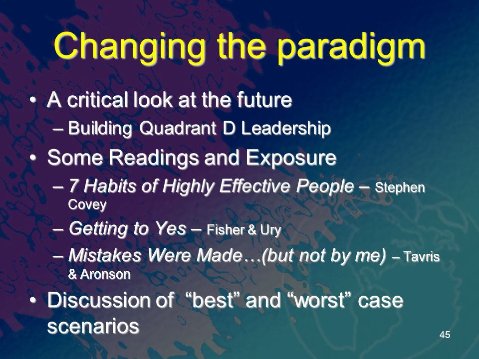 Changing the paradigm A critical look at the futureA critical look at the future –Building Quadrant D Leadership Some Readings and ExposureSome Readings and Exposure –7 Habits of Highly Effective People – Stephen Covey –Getting to Yes – Fisher & Ury –Mistakes Were Made…(but not by me) – Tavris & Aronson Discussion of best and worst case scenariosDiscussion of best and worst case scenarios 45