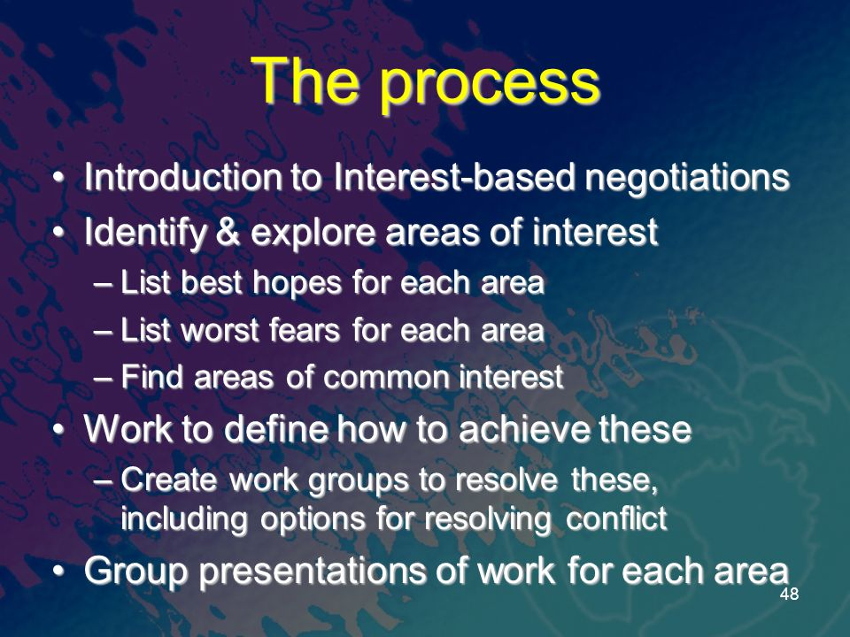 The process Introduction to Interest-based negotiationsIntroduction to Interest-based negotiations Identify & explore areas of interestIdentify & expl