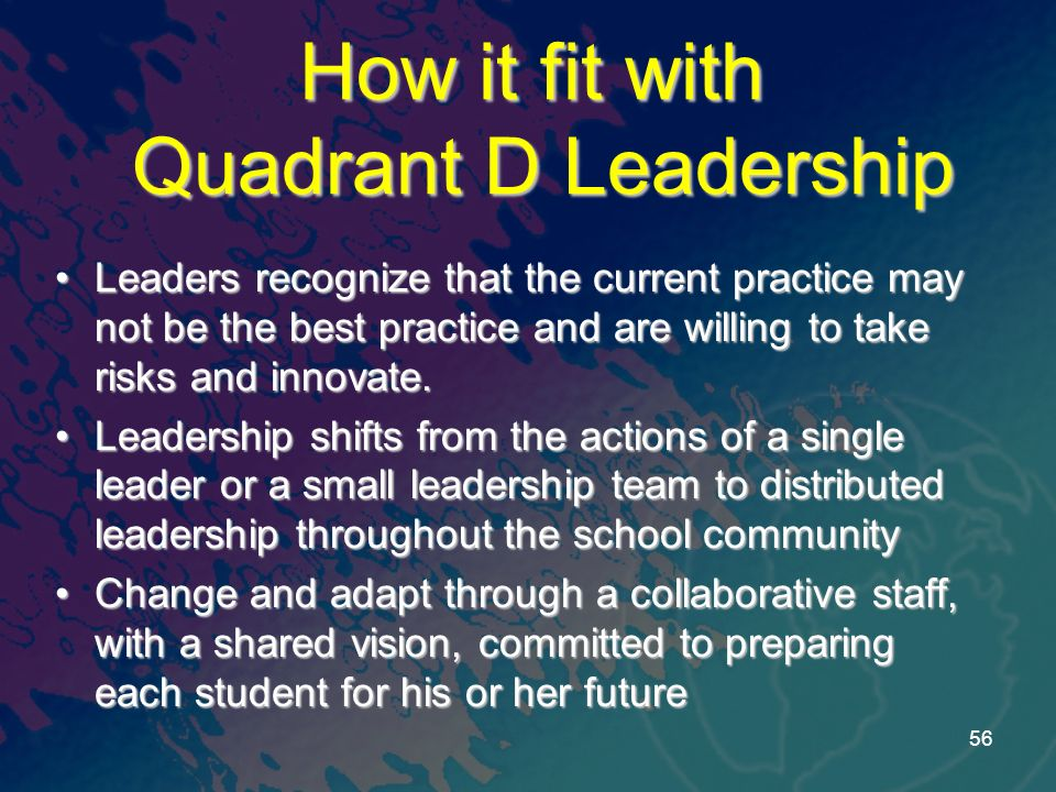 How it fit with Quadrant D Leadership Leaders recognize that the current practice may not be the best practice and are willing to take risks and innov
