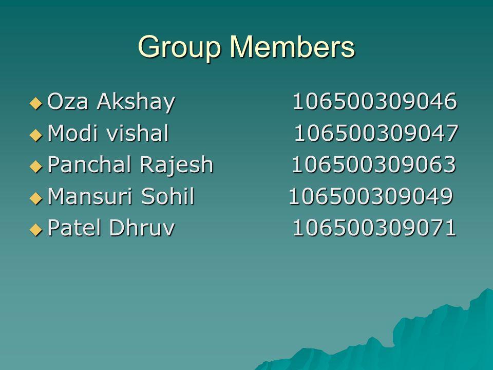 Group Members Oza Akshay 106500309046 Oza Akshay 106500309046 Modi vishal 106500309047 Modi vishal 106500309047 Panchal Rajesh 106500309063 Panchal Ra