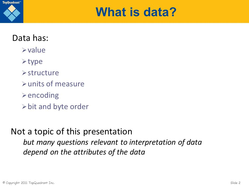 © Copyright 2011 TopQuadrant Inc. Slide 2 What is data.