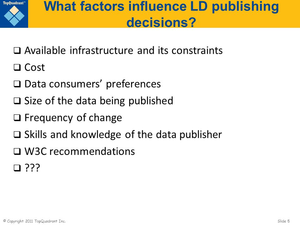 © Copyright 2011 TopQuadrant Inc. Slide 5 What factors influence LD publishing decisions.