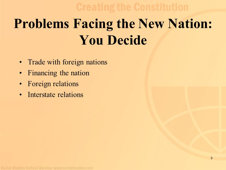 9 Problems Facing the New Nation: You Decide Trade with foreign nations Financing the nation Foreign relations Interstate relations