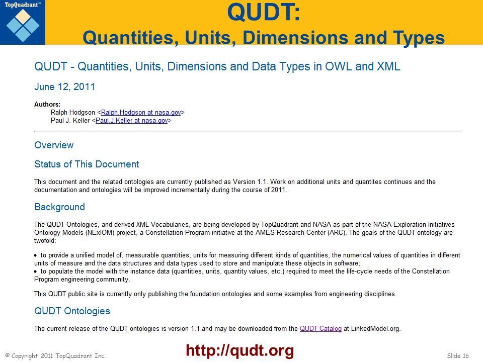 © Copyright 2011 TopQuadrant Inc. Slide 16 QUDT: Quantities, Units, Dimensions and Types http://qudt.org