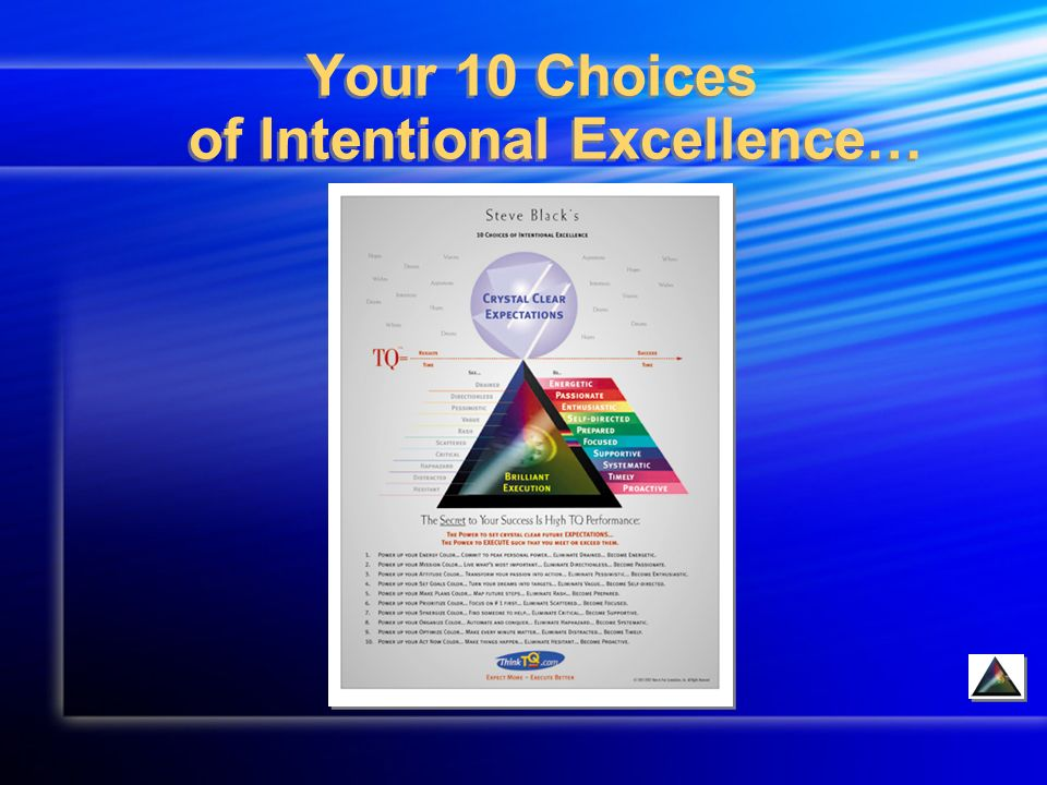 Your 10 Choices of Intentional Excellence…