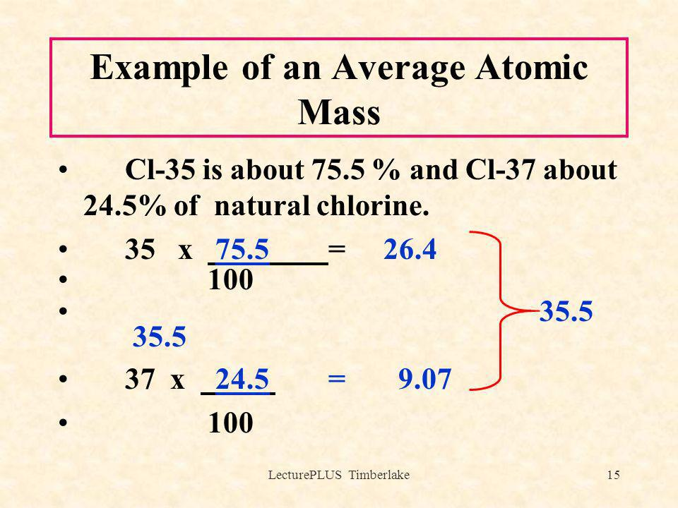 LecturePLUS Timberlake15 Example of an Average Atomic Mass Cl-35 is about 75.5 % and Cl-37 about 24.5% of natural chlorine. 35 x 75.5 = 26.4 100 35.5