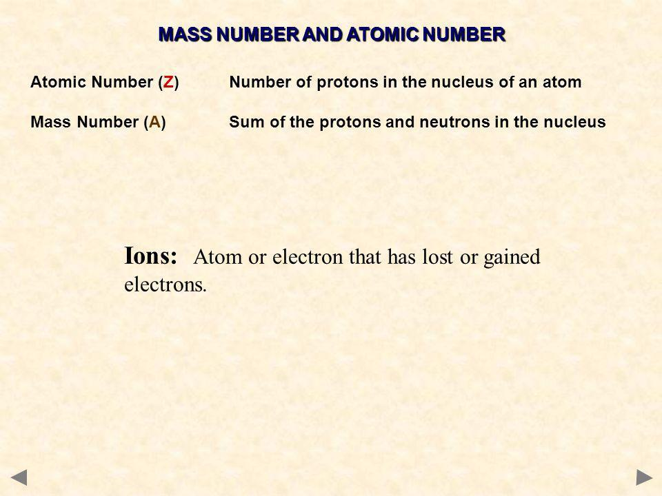 MASS NUMBER AND ATOMIC NUMBER Atomic Number (Z)Number of protons in the nucleus of an atom Mass Number (A) Sum of the protons and neutrons in the nucleus Na 23 11 Mass Number (A) PROTONS + NEUTRONS Atomic Number (Z) PROTONS