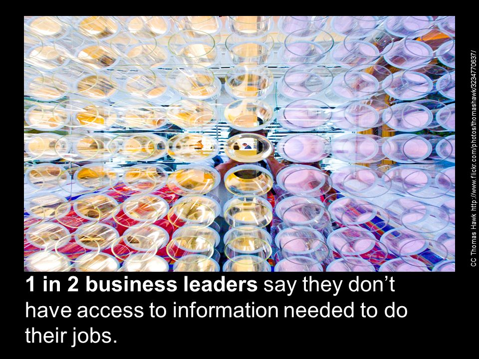 1 in 2 business leaders say they dont have access to information needed to do their jobs. CC Thomas Hawk http://www.flickr.com/photos/thomashawk/32347