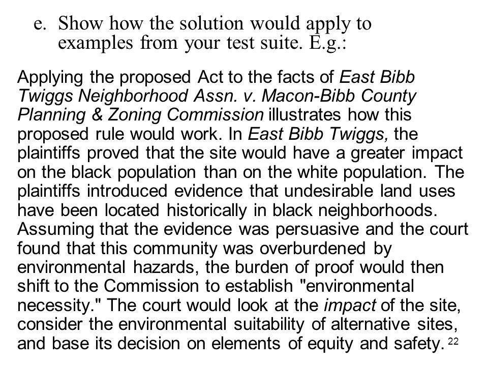 22 Applying the proposed Act to the facts of East Bibb Twiggs Neighborhood Assn.