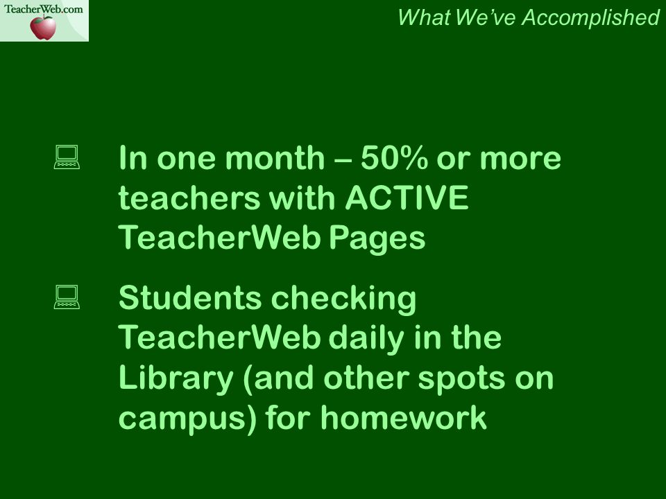 In one month – 50% or more teachers with ACTIVE TeacherWeb Pages Students checking TeacherWeb daily in the Library (and other spots on campus) for homework