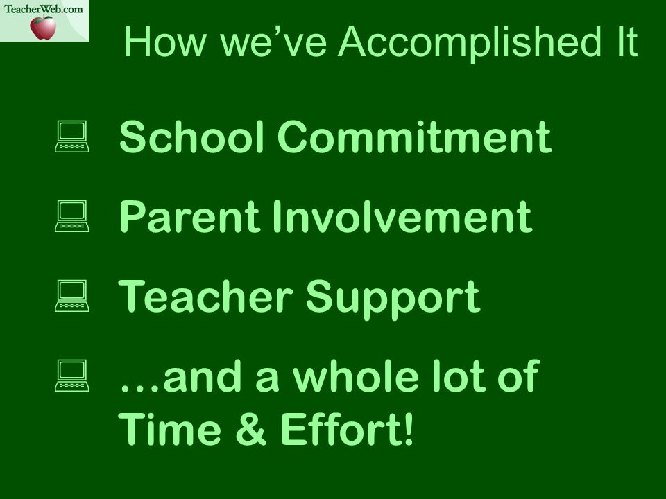 How weve Accomplished It School Commitment Parent Involvement Teacher Support …and a whole lot of Time & Effort!