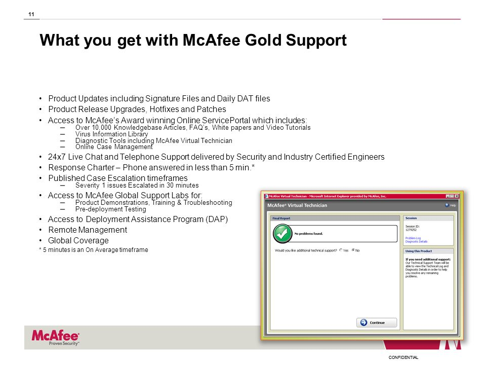 CONFIDENTIAL 11 What you get with McAfee Gold Support Product Updates including Signature Files and Daily DAT files Product Release Upgrades, Hotfixes