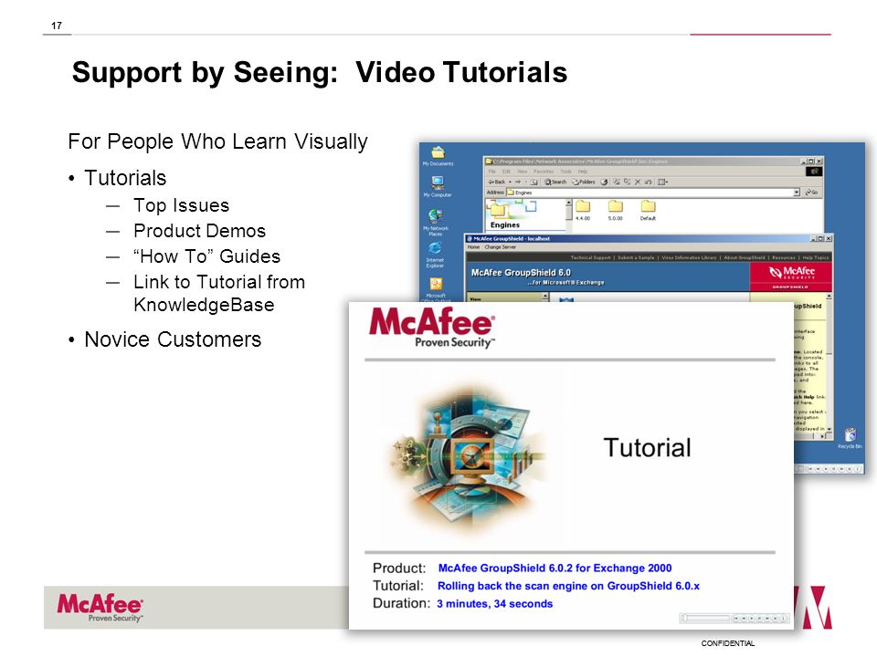 CONFIDENTIAL 17 Support by Seeing: Video Tutorials For People Who Learn Visually Tutorials Top Issues Product Demos How To Guides Link to Tutorial fro