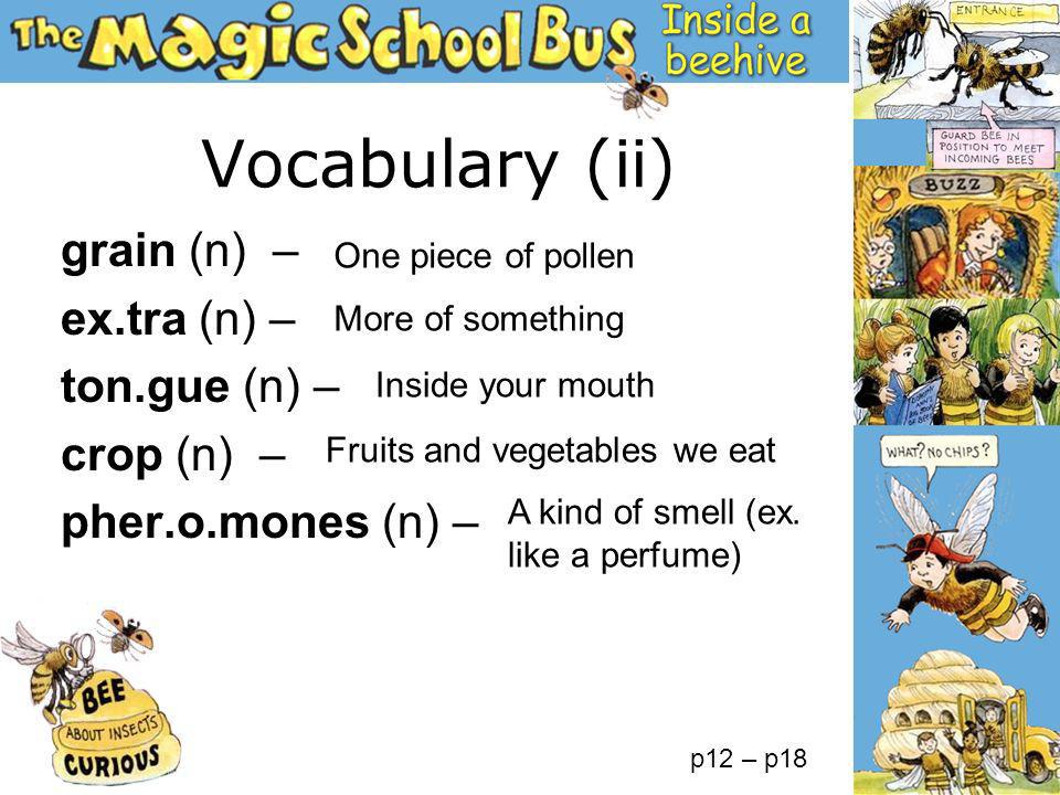 Vocabulary (ii) grain (n) – ex.tra (n) – ton.gue (n) – crop (n) – pher.o.mones (n) – One piece of pollen Fruits and vegetables we eat A kind of smell