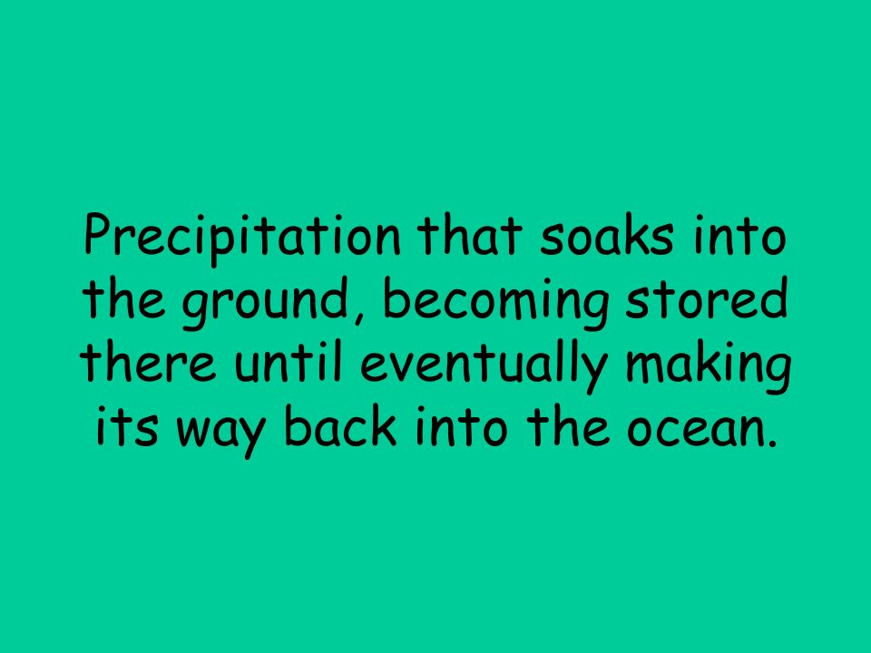 Precipitation that soaks into the ground, becoming stored there until eventually making its way back into the ocean.