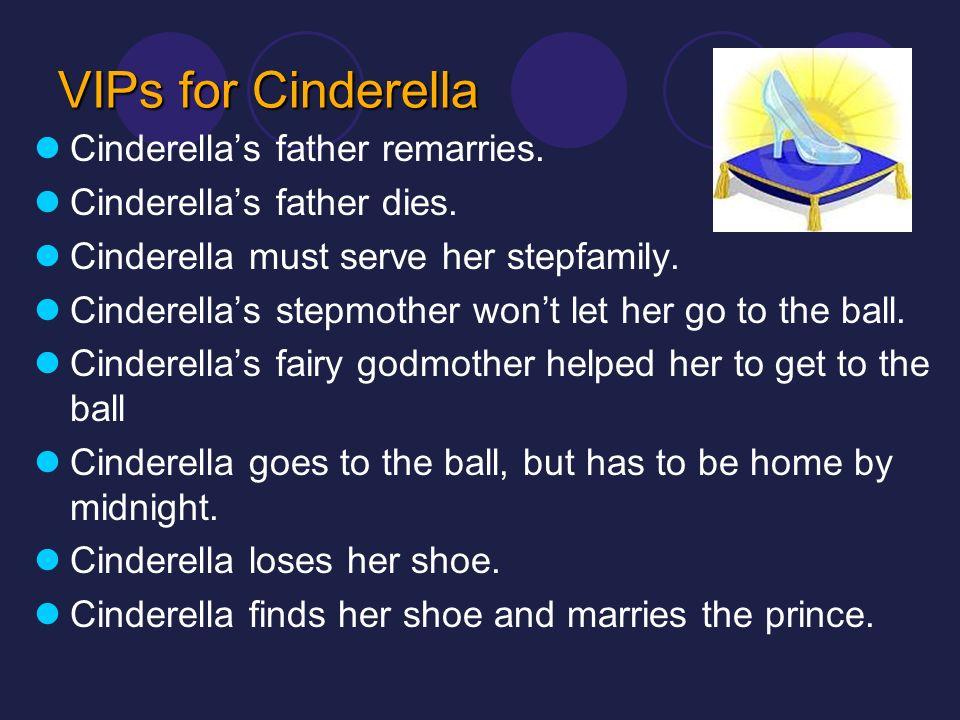 VIPs for Cinderella Cinderellas father remarries. Cinderellas father dies. Cinderella must serve her stepfamily. Cinderellas stepmother wont let her g