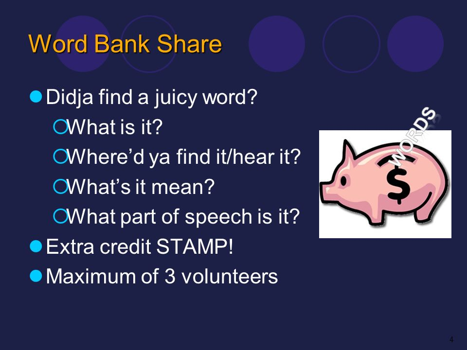 Word Bank Share Didja find a juicy word? What is it? Whered ya find it/hear it? Whats it mean? What part of speech is it? Extra credit STAMP! Maximum