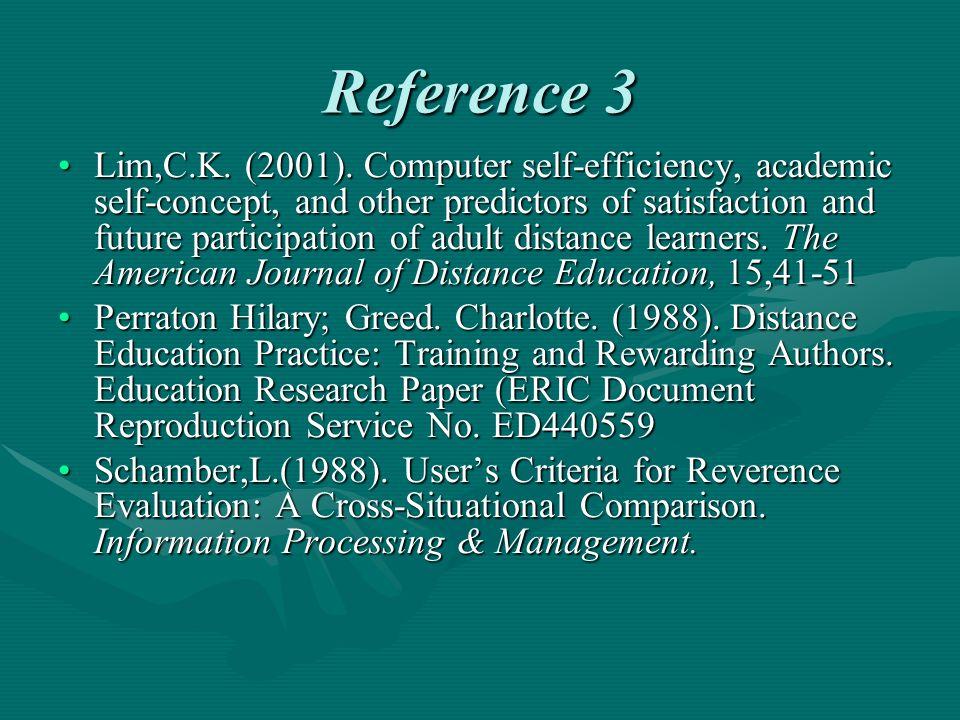Reference 3 Lim,C.K. (2001).