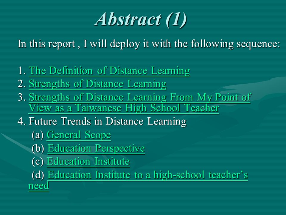 Future Trends in Distance Learning d).