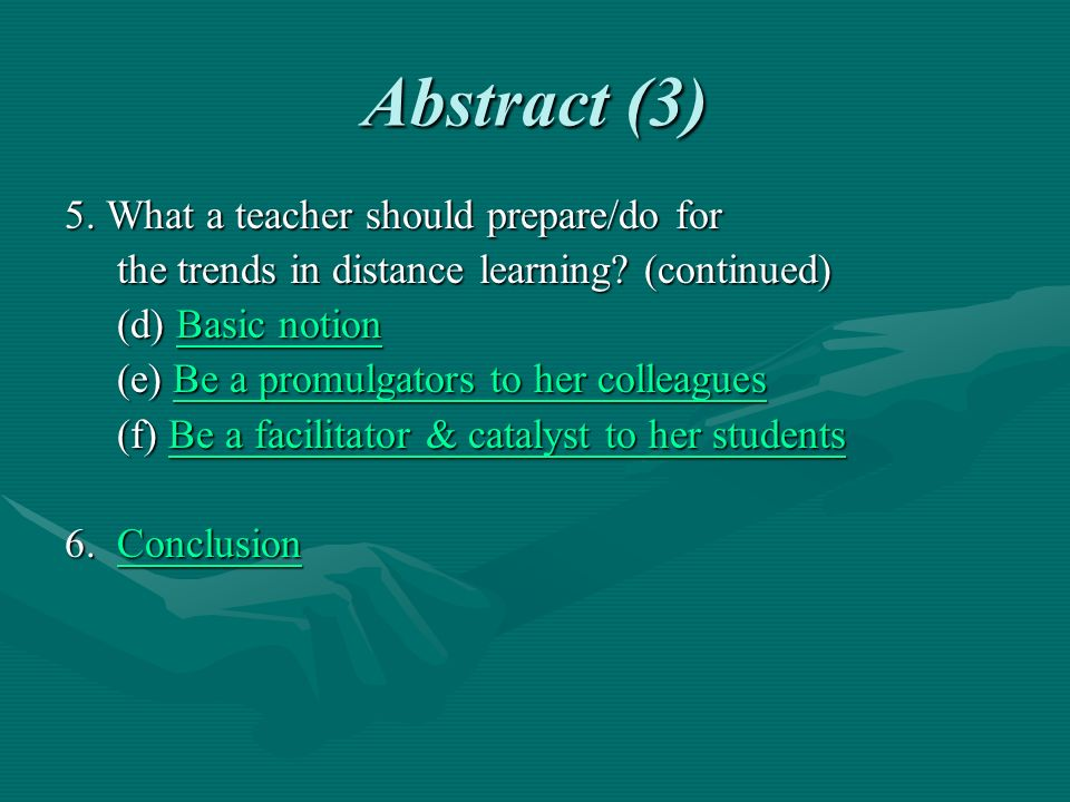 Future Trends in Distance Learning f).