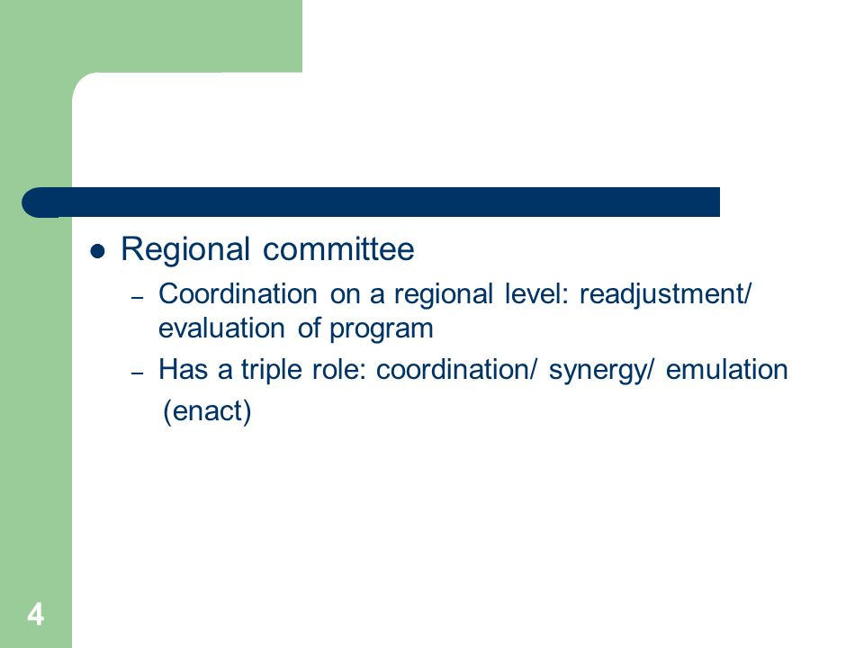 4 Regional committee – Coordination on a regional level: readjustment/ evaluation of program – Has a triple role: coordination/ synergy/ emulation (enact)