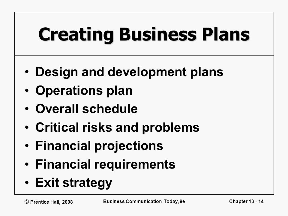 © Prentice Hall, 2008 Business Communication Today, 9eChapter 13 - 14 Creating Business Plans Design and development plans Operations plan Overall sch