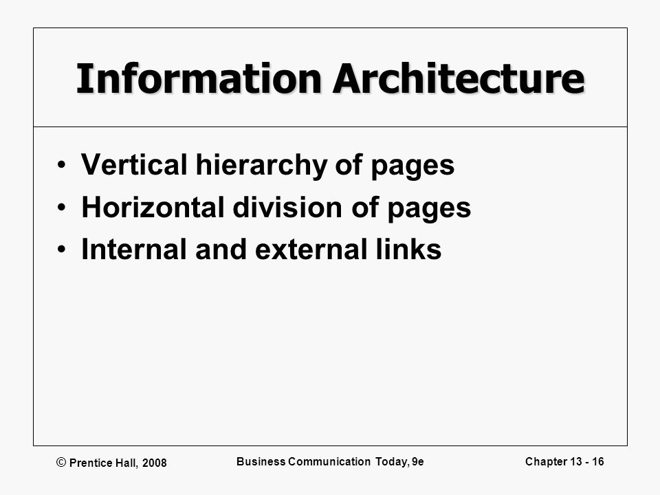 © Prentice Hall, 2008 Business Communication Today, 9eChapter 13 - 16 Information Architecture Vertical hierarchy of pages Horizontal division of page