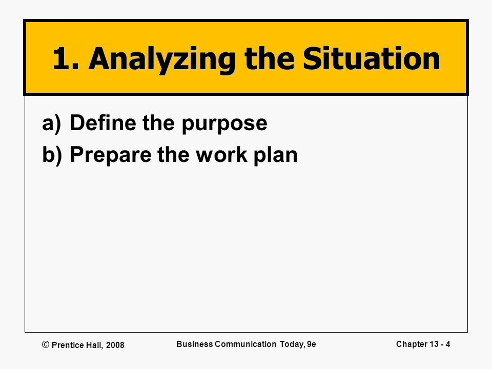 © Prentice Hall, 2008 Business Communication Today, 9eChapter 13 - 4 1. Analyzing the Situation a)Define the purpose b)Prepare the work plan