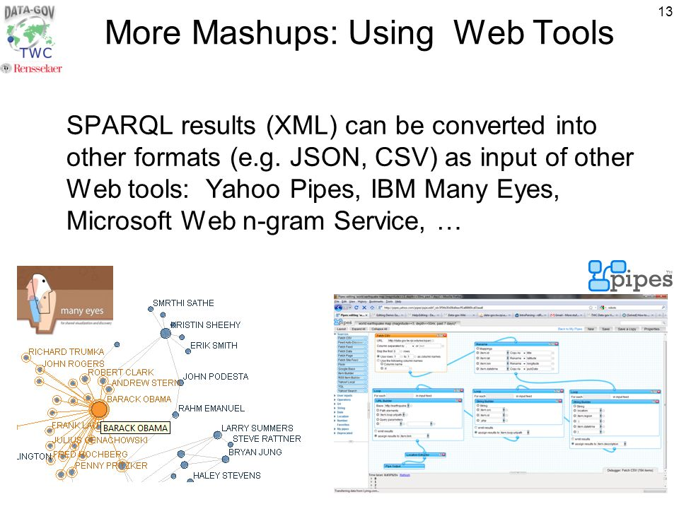 13 More Mashups: Using Web Tools SPARQL results (XML) can be converted into other formats (e.g.