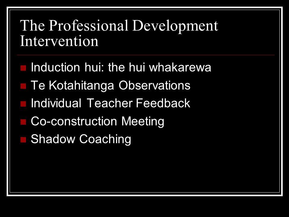 The Professional Development Intervention Induction hui: the hui whakarewa Te Kotahitanga Observations Individual Teacher Feedback Co-construction Mee