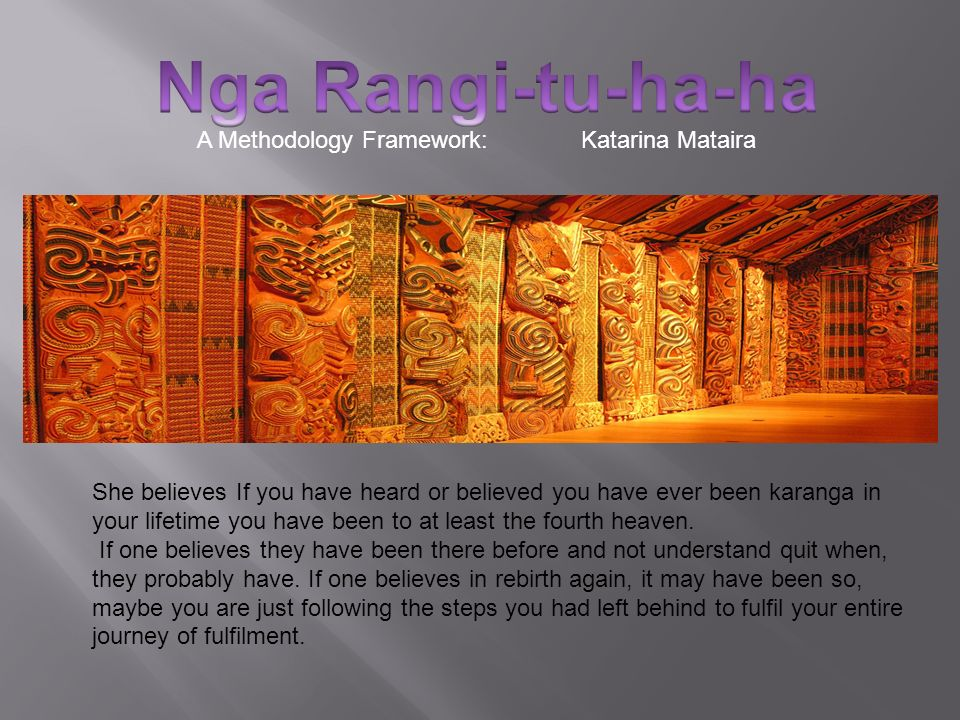 A Methodology Framework:Katarina Mataira She believes If you have heard or believed you have ever been karanga in your lifetime you have been to at le