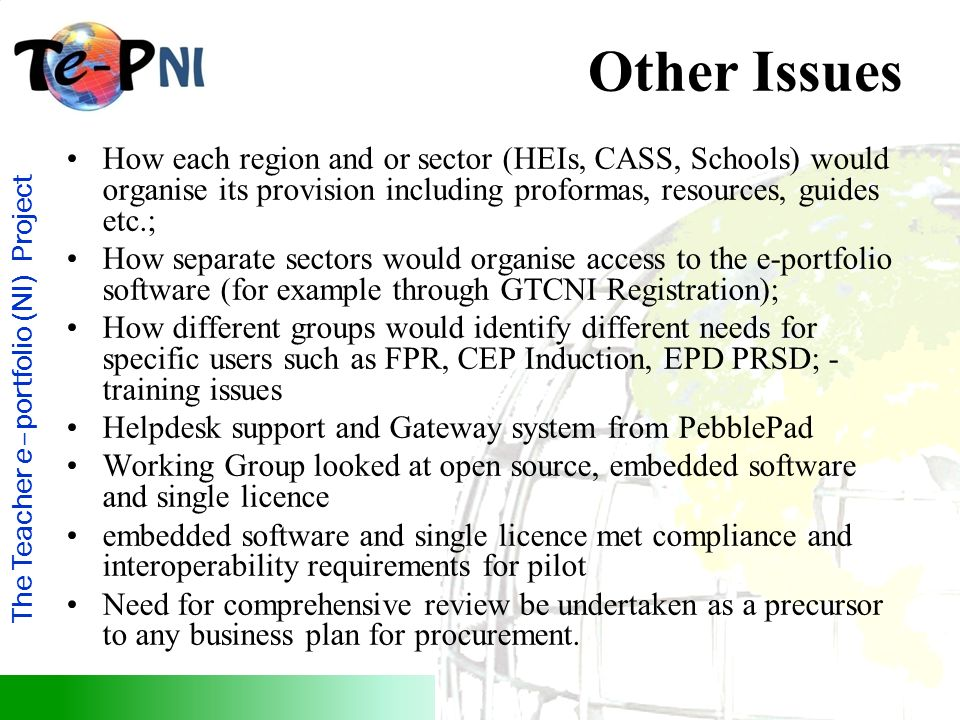 The Teacher e–portfolio (NI) Project Other Issues How each region and or sector (HEIs, CASS, Schools) would organise its provision including proformas